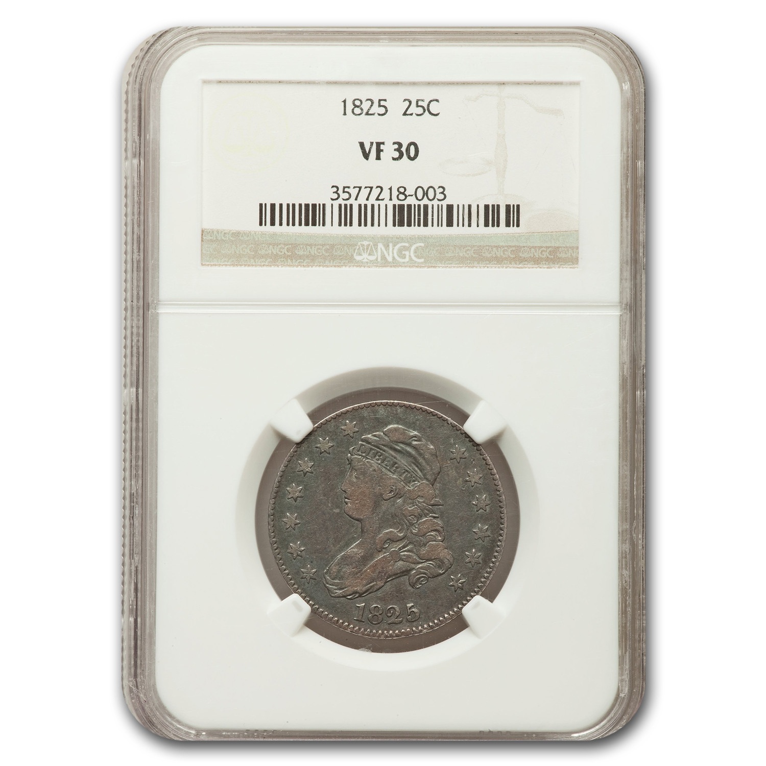 1825/4 Capped Bust Quarter VF-30 NGC